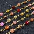 Красочные и мода позолоченные или посеребренные естественных радуга своих агат грановитая из бисера цепи JT073