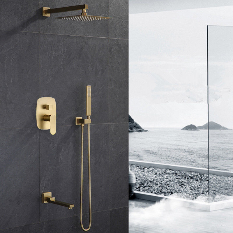 Luxury Bathroom Brass Brushed gold 12 Ceiling Rain Shower faucet System set Mixer Valve and Trim Included