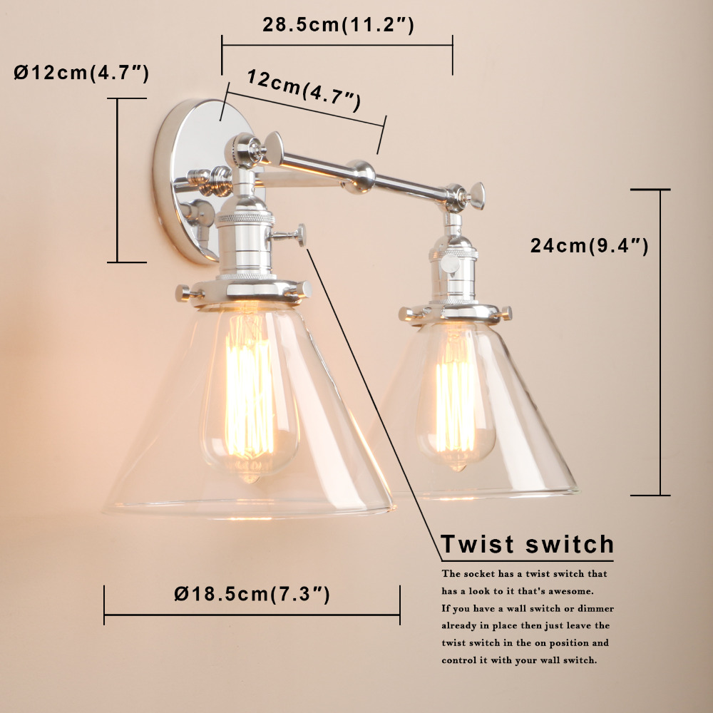 Image 5 - Permo Modern Wall Lights Wall Lamp Sconce 7.3 Funnel Glass Lampshade Wandlamp Bedroom Mirror lights Loft Decor Light Fixtures-in Wall Lamps from Lights & Lighting