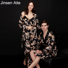 Jinsen Aite Couple Silk Print Autumn Spring Pajamas Set Women Men Sexy Sleeveless Strap Nightwear Long Pant Robe Sleepwear JS740