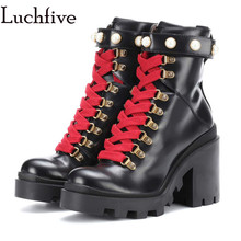 2018 Winter Women Motorcycle Boots platform High Heels Botas Mujer pearled cross tied real fur snow Boots Ankle Boots female