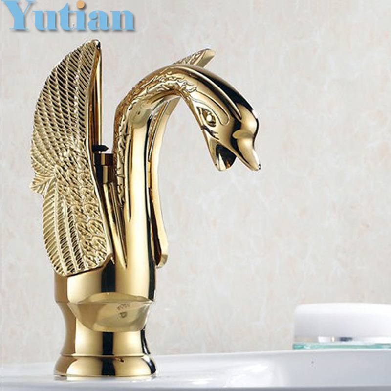 Free Shipping New Design Hotel Luxury Copper Hot and Cold Taps Swan Faucet Gold Plated Wash Basin Faucet Mixer Taps YT-5041 pastoralism and agriculture pennar basin india