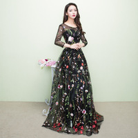 2018 Black Cheongsam Sexy Qipao Women Long Traditional Chinese Dress Evening Gown Party Dresses Style Chinois Femme