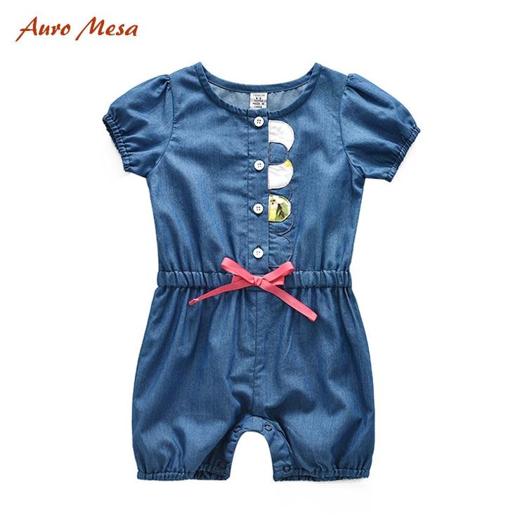 Fashion Summer Girl Romper 100%Cotton Blue Denim Soft Shortie Infant Girls Onesie