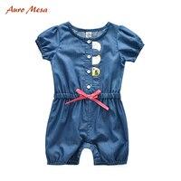 2016 Fashion Summer Girl Romper 100 Cotton Blue Denim Soft Shortie Infant Girls Onesie