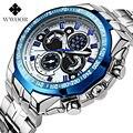 El Nuevo WWOOR Correa de Acero Inoxidable Relojes de Marca de Lujo de Los Hombres Reloj Deportivo Resistente Al Agua Relogio Masculino Reloj de Cuarzo Reloj Del Ocio