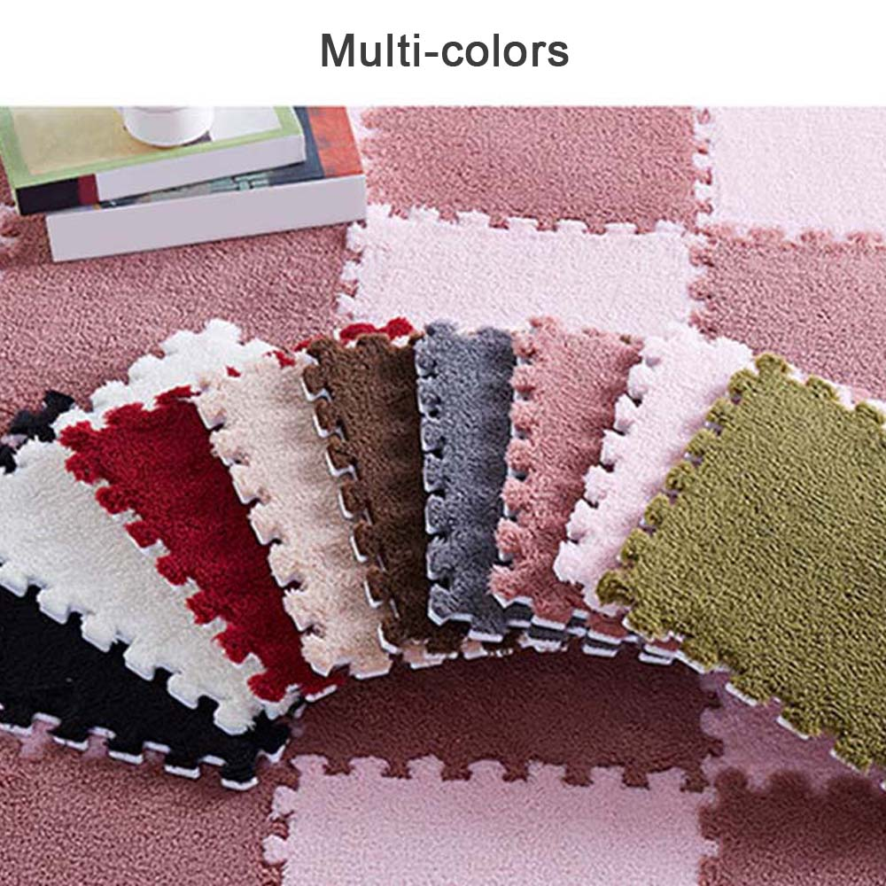 Lint-free EVA Waterproof Plush Mat For Baby Play Mat Interlocking Exercise Crawl Tiles Bedroom Floor Puzzle Carpet Home Decor