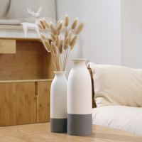Japanese Style Vase White Ceramic Vase Small and Refreshing Nordic Vases Household Ornaments Dried Flowers Vase