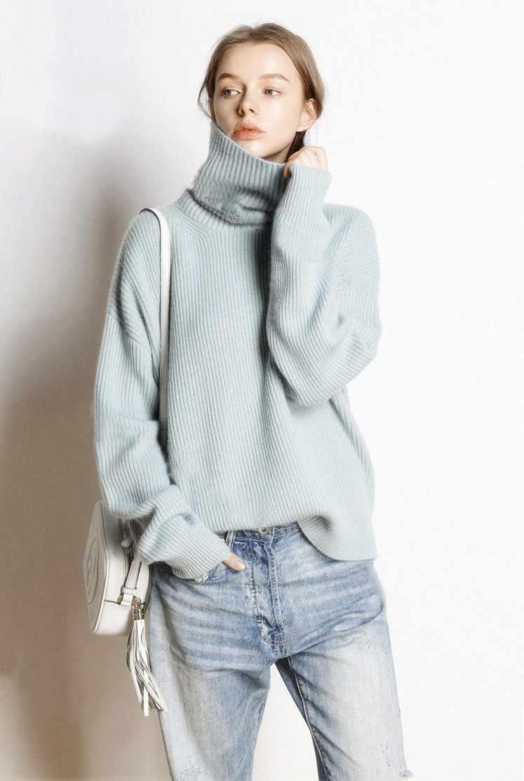 Горячая Распродажа, 5 цветов, Женский пуловер и свитер, 100% кашемир, вязанные Джемперы, зима, новая мода, Толстая теплая Женская одежда, топы для девочек