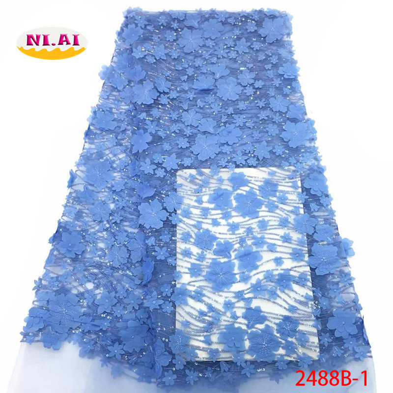 Blue Bridal Lace Nigerian Lace Dresses African 3D Flower Lace Fabric Dress Lace Appliques For Clothes