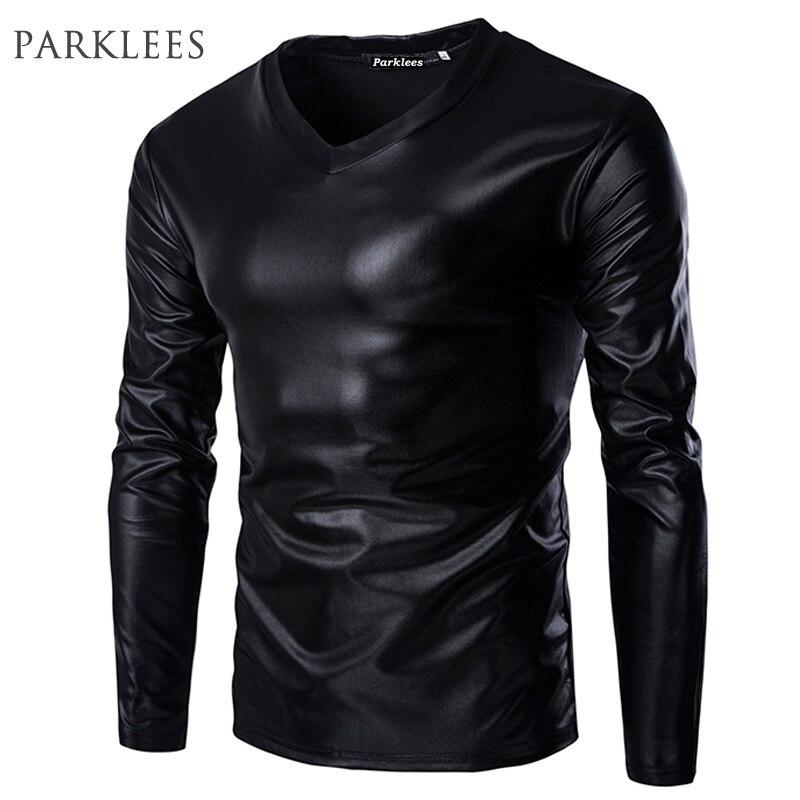 Cool Black Metallic T Shirt Men Brand Long Sleeve V Neck Glossy Mens T-shirt Casual Fitness Night Club Wear Tee Shirt Homme XXL