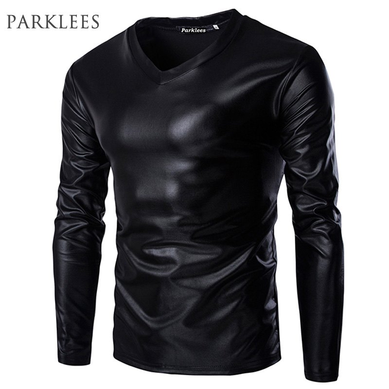 Cool Black Metallic T Shirt Men Brand Long Sleeve V Neck Glossy Mens T-shirt Casual Fitness Night Club Wear Tee Shirt Homme XXL