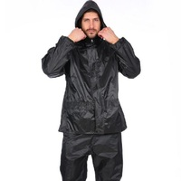 Fashion men Raincoat Rain Pants Set Adult Hiking Rainwear Rain Pants Motorcycle Waterproof Windproof Rain Coats +Pants Suit