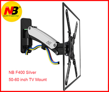 "NB F400 גז יתד 50 "" 60"" LED LCD הטלוויזיה קיר הר מלא תנועה צג מחזיק זרוע עומס: 31 50lbs (14 23kgs) כסף שחור"