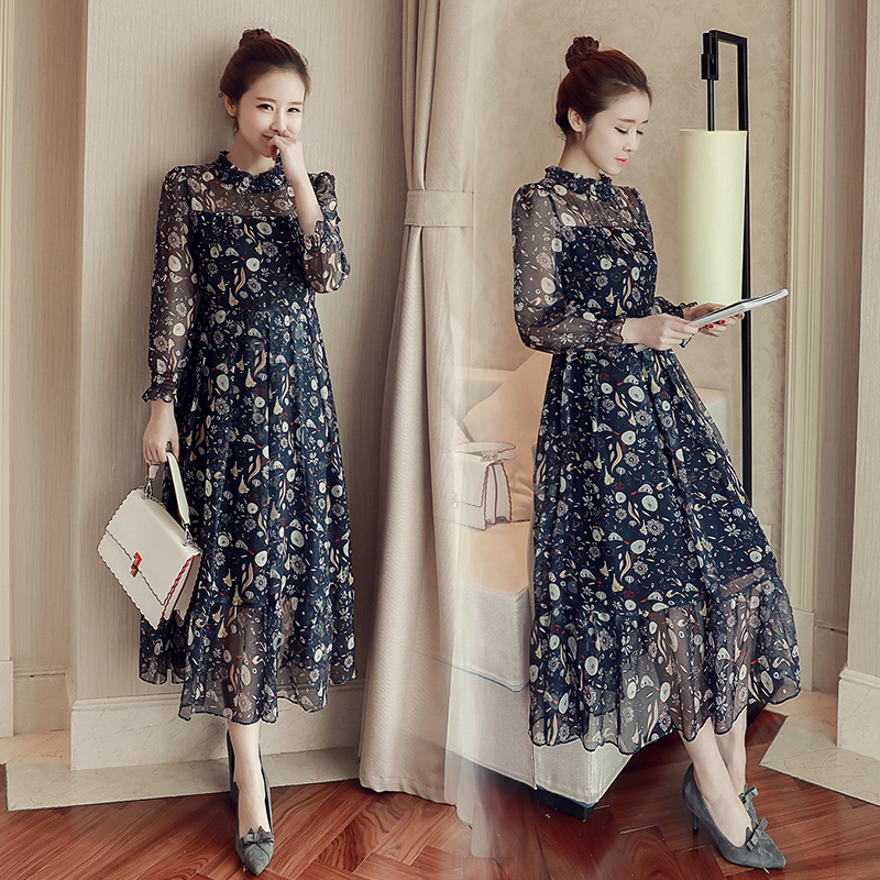 2017 New Spring Female Long Sleeved Chiffon Dress Korean Fashion Slim Slim Floral Waist
