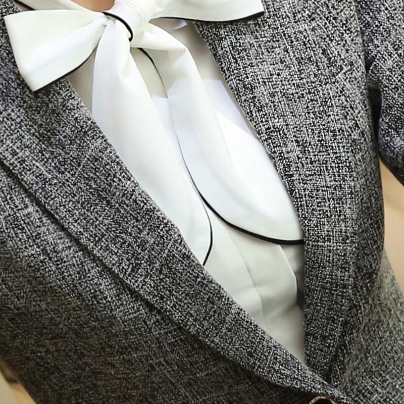 Lenshin Weiche Baumwolle Jacke Hohe Qualität Mode Grau Frauen Blazer Casual Tragen Lange Hülse Mantel Dame Vogue Top Mit Tasche Anzüge & Sets Frauen Kleidung & Zubehör