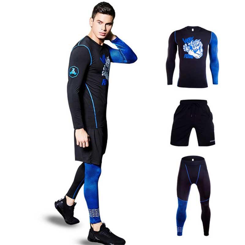 3 pièces hommes Compression rapide à sec Long Johns Fitness Gymming homme hiver sport fonctionne entraînement sous-vêtement thermique ensembles S206