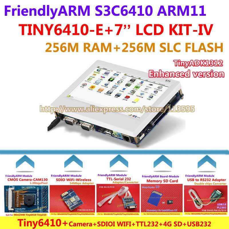 FriendlyARM ARM11 S3c6410 Board Kit -IV TINY6410 + 7 inch TFT WIFI CMOS CAM130 4G SD TTL-RS232 USB - RS232 , Android