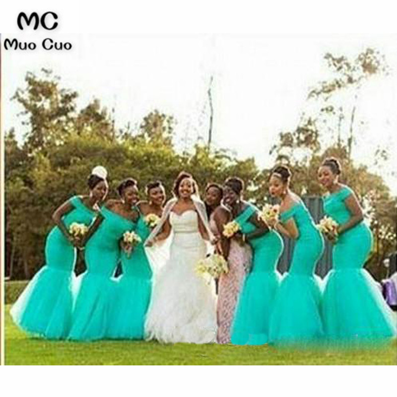 Hot South Africa Style Nigerian Bridesmaid Dresses Plus Size Mermaid Maid Of Honor Gowns For Wedding Off Shoulder Turquoise Tulle Dress 3_