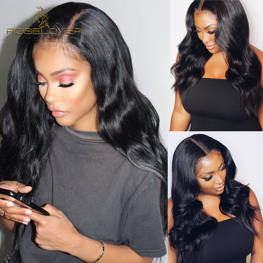 ROSELOVER Brazilian Body Wave 360 Lace Frontal Wig Pre Plucked Lace Front Human Hair Wigs For