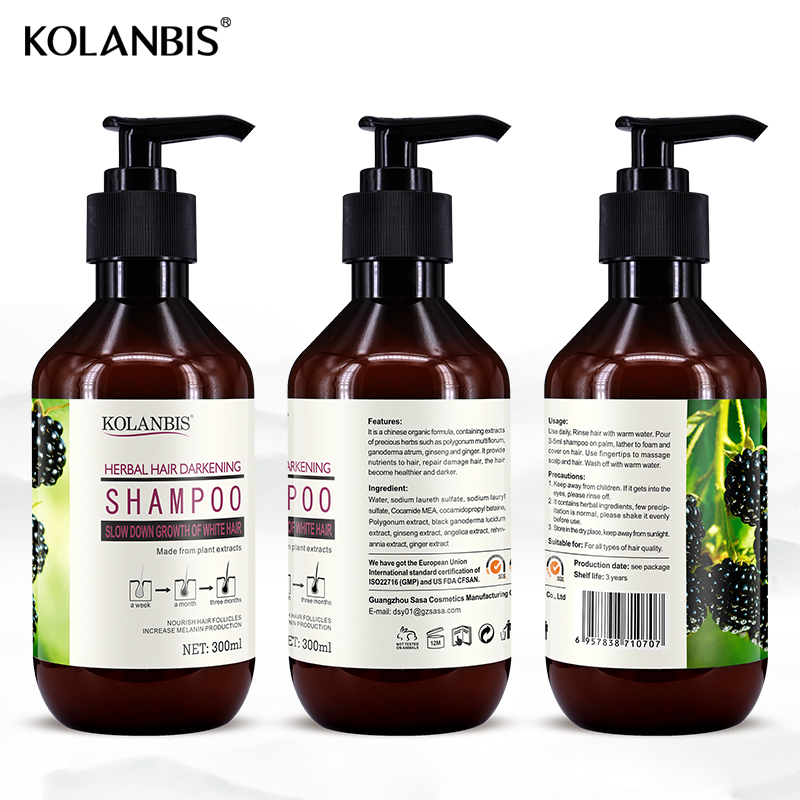 Green natural nourishing hair care herbal white hair shampoo
