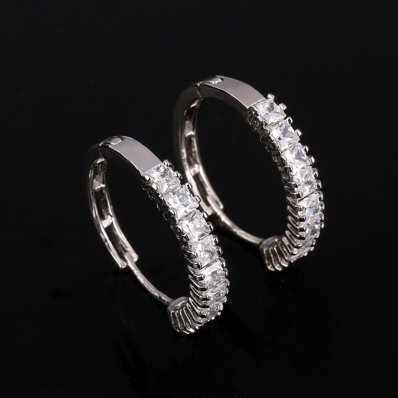 2019 Mother's Day DEALS Silver Plated CZ Simple Female Hoop Earrings Jewelry for Women Crystal Jewelry Free Shipping Earrings image