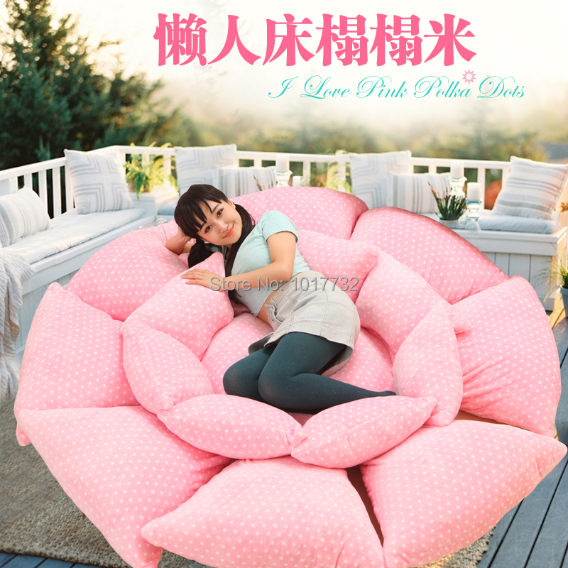 Pink Dot Flower Tatami Beanbag Mattress Lounger Folding Bed Sleeping Pad Totoro Double Creative Gift Memory Foam In Covers Grippers