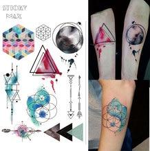 W08 1 Piece Watercolor Geometric Magic Tattoo With Triangle, Square, Semicolon,Lock Design Body Paint Waterproof Tattoos