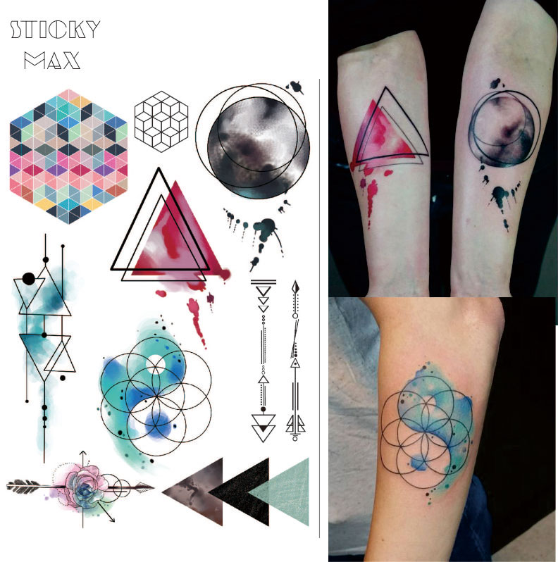W08 Watercolor Geometric Magic  Tattoo with Triangle, Square, Planet, Semicolon,Lock Design Body Paint Waterproof Tattoos basic pump