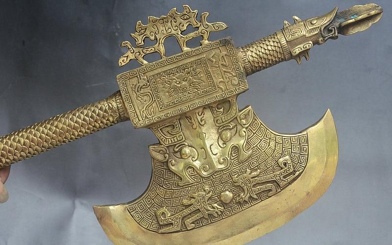 20 Китай Народная Коллекция Латунь Голова Дракона Зверь Ручка топор Топор Боевой Статуя - 3