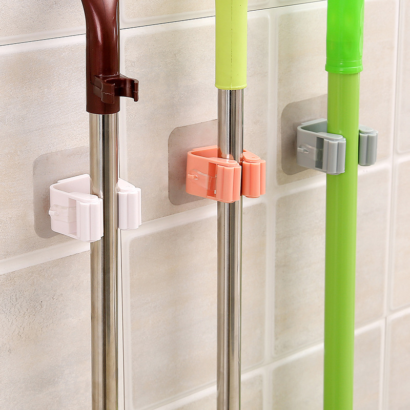 Wall Mounted Mop Holder Brush Hanger Storage Rack Kitchen Organizer with Mounted Accessory Hanging Cleaning Tools