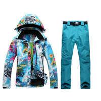 2019 nuevo traje de esquí traje de mujer invierno al aire libre sola tabla, doble chaqueta de esquí + Pantalones de esquí impermeable buena calidad envío gratis