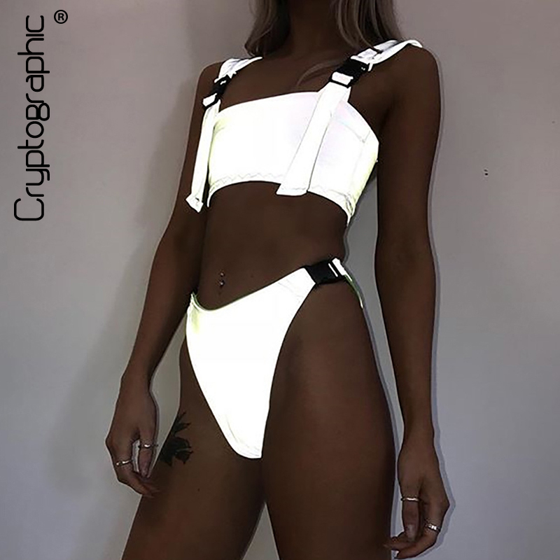 Cryptographic Buckle Silver Holographic Two Piece Set Fashion Outfits Summer Sexy Crop Tops Festival Tracksuit Women Clothes