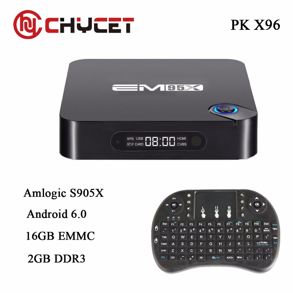 Chycet EM95X 2G/16G Android 6.0 TV Box Amlogic S905X Quad-Core Completo cargado