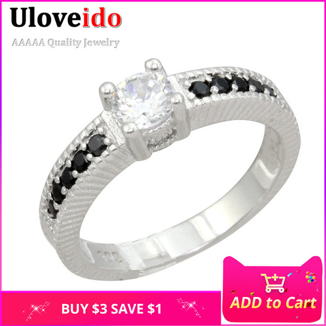 Uloveido Crystal Cubic Zirconia Rings for Women Black Female Ring Jewelry Christmas Wedding Jewelry Gifts Size 5-10 PJ001