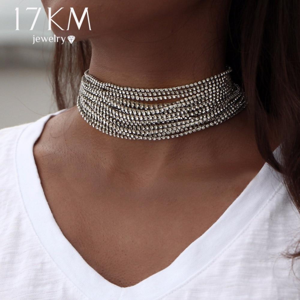 17 كيلومتر متعددة الطبقات حجر الراين كريستال المختنق قلادة للنساء بيان جديد بيجو ماكسي القلائد كولير الأزياء والمجوهرات
