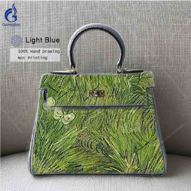 Newest 2018 Women Genuine Leather Handbags Hand Painted Green Grass Top Handle Crossbody Bag Ladies Casual Tote Bag Sac Main Y mint green casual sleeveless hooded top