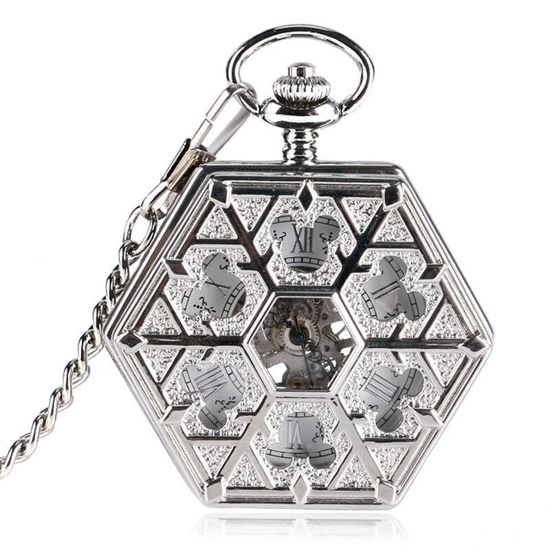 Watch Skeleton 2017 Relojes Enfermeria Hand Wind Snowflake Mechanical Nurse Pocket Watches Clock Pendant Hexagon Xmas Gift