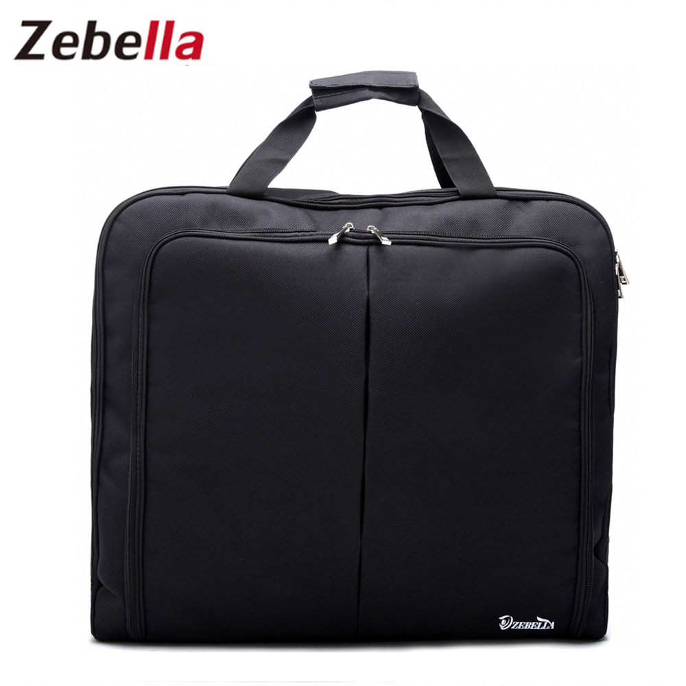 Zebella Vanntett Svart Glidelås Garment Bag Suit Bag Slitesterkt Menn Business Trip Reise Bag For Suit Clothing Case Big Organizer