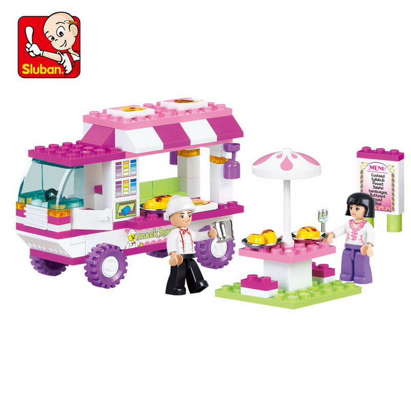 B0155 SLUBAN Girl Friends Pink Dream Snack Car Model Building Blocks Enlighten DIY Figure Toys For Children Compatible Legoe b1600 sluban city police swat patrol car model building blocks classic enlighten diy figure toys for children compatible legoe