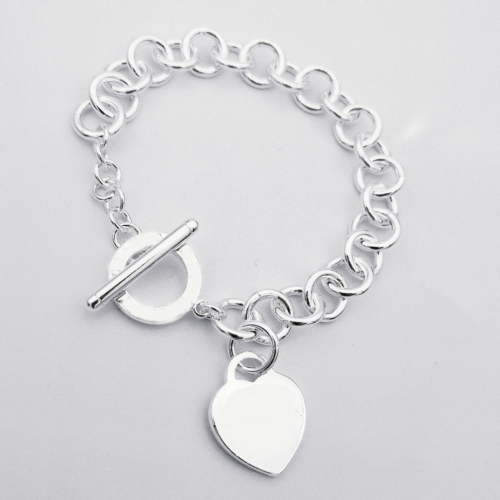 TIFF100%925 sterling silver popular classic heart-shaped logo letters circle buckle bracelet lady neutral fashion jewelry giftsTIFF100%925 sterling silver popular classic heart-shaped logo letters circle buckle bracelet lady neutral fashion jewelry gifts