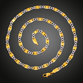 Hearts Q Jewelry Chic Classic 18K Real Gold Plated Party Women's Fashion Double Color Chain Necklace 5MM *60CM