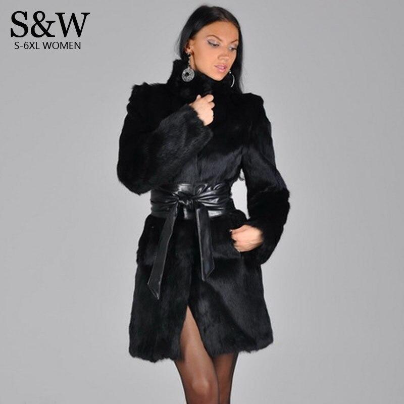 Синтетического меха пальто плюс Размеры 4XL 5XL черный воротник Для женщин искусственного меха Пальто Поддельные кролик Меховая куртка Женск...