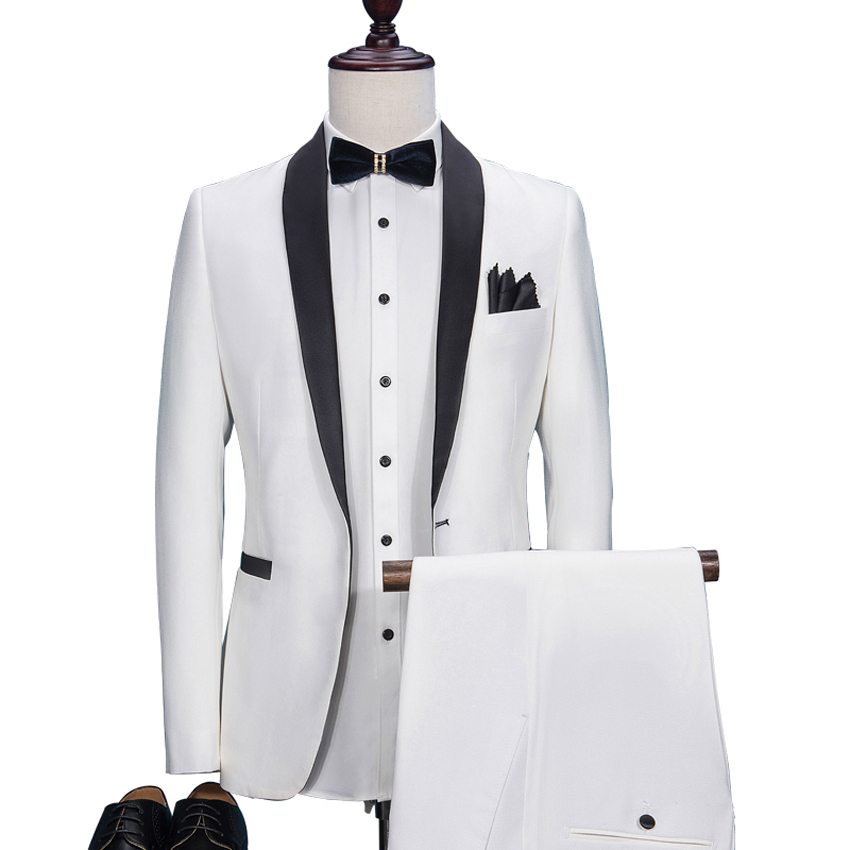 HB025 Custom Made Slim Fit White Male Blazer Black Lapel Men's Wedding Prom Suits Formal Dinner Tuxedos Best Man Costumes Suit