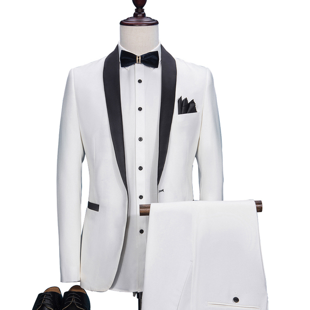 HB025 Custom Made Slim Fit White Male Blazer Black Lapel Men's Wedding Prom Suits Formal Dinner Tuxedos Best Man Costumes Suit