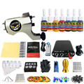 Solong Tattoo New Beginner 1 Pro Machine Gun Tattoo Kit Power Supply Needle Grips tip 7 color ink set TK105-38