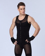 men body shapers vest strong compression underwear hot shapers tights for male bodysuit front zipper black white