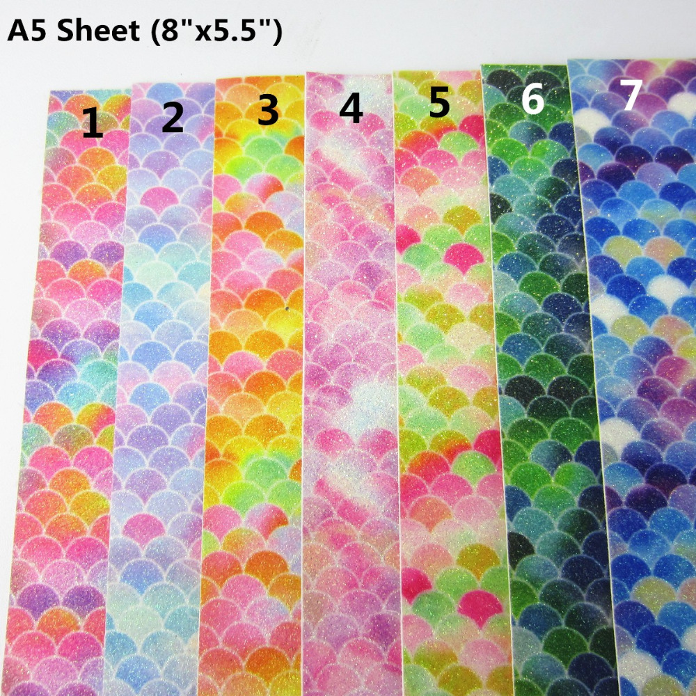 Any Craft Related Project Bows Mermaid Scales Holographic Vinyl Sheets for Earrings Scrapbooking A5 Size 8 x 5.5 inches.