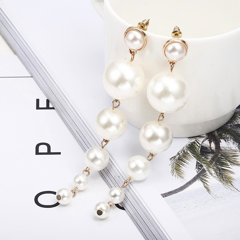 Trendy Elegant Created Big Simulated Pearl Long Earrings Pearls String Statement Drop Earrings For Wedding Party Gift e07 2