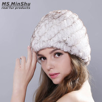Ms.MinShu Real Rex Rabbit Fur Winter Female Hat Winter Warm Women Cap Hand Knitted Thickness Cap for Winter Rabbit Fur Hat